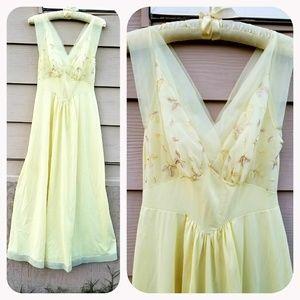 Vintage Lemon Meringue Embroidered Slip Nighgown